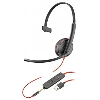 Casca Call Center Plantronics BLACKWIRE 3215, USB si jack 3.5mm, Monoaural